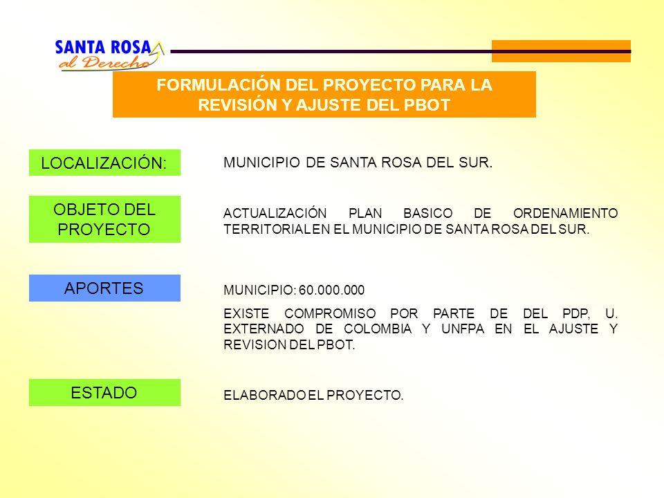 FORMULACIÓN DEL PROYECTO PARA LA REVISIÓN Y AJUSTE DEL PBOT