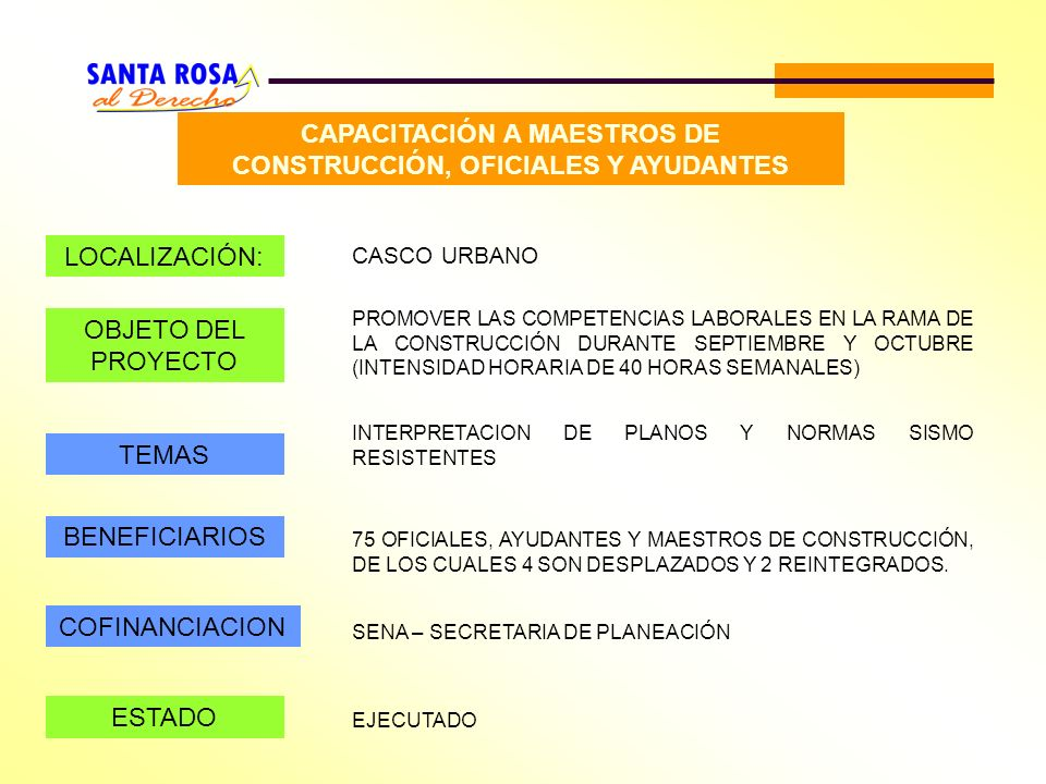 CAPACITACIÓN A MAESTROS DE CONSTRUCCIÓN, OFICIALES Y AYUDANTES