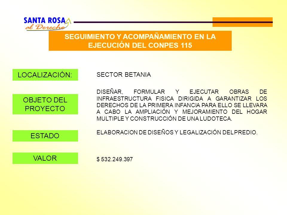 SEGUIMIENTO Y ACOMPAÑAMIENTO EN LA EJECUCIÓN DEL CONPES 115