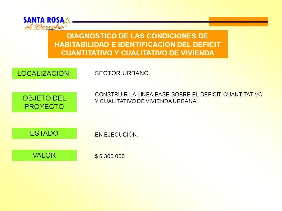 DIAGNOSTICO DE LAS CONDICIONES DE HABITABILIDAD E IDENTIFICACION DEL DEFICIT CUANTITATIVO Y CUALITATIVO DE VIVIENDA