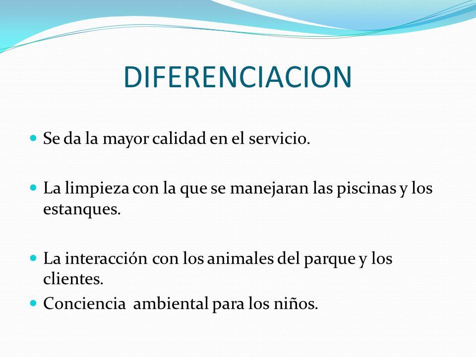DIFERENCIACION Se da la mayor calidad en el servicio.