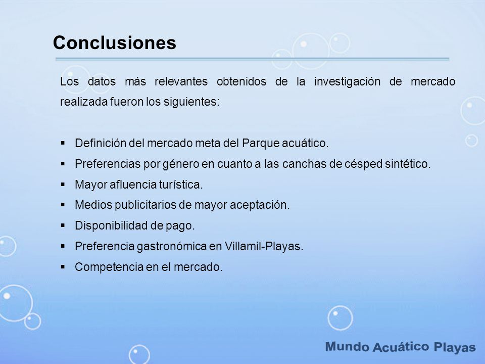 Mundo Acuático Playas Conclusiones