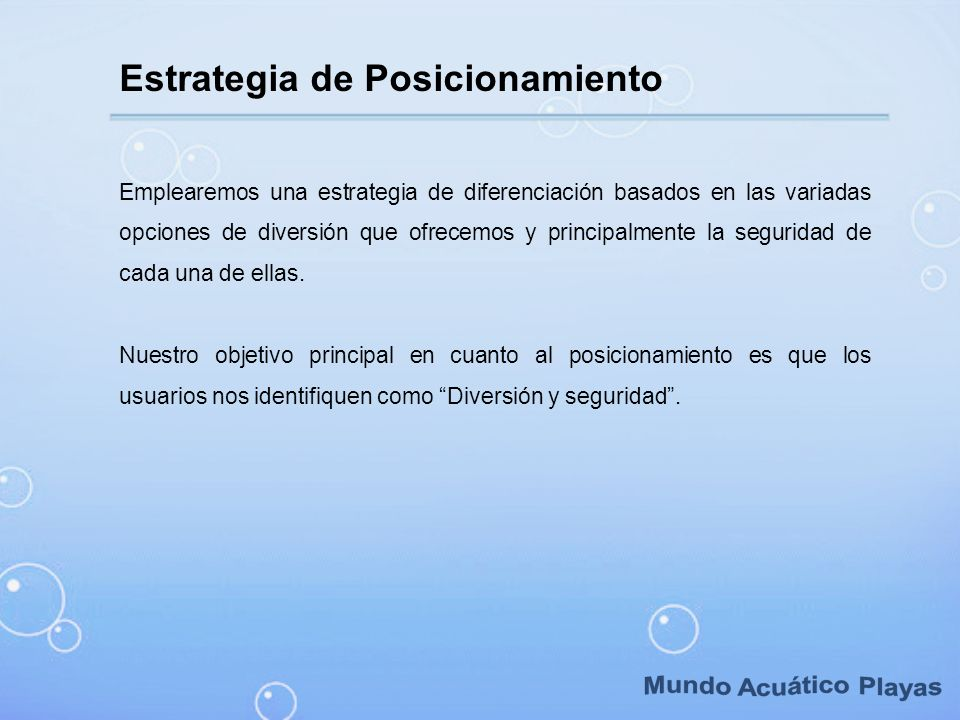 Mundo Acuático Playas Estrategia de Posicionamiento