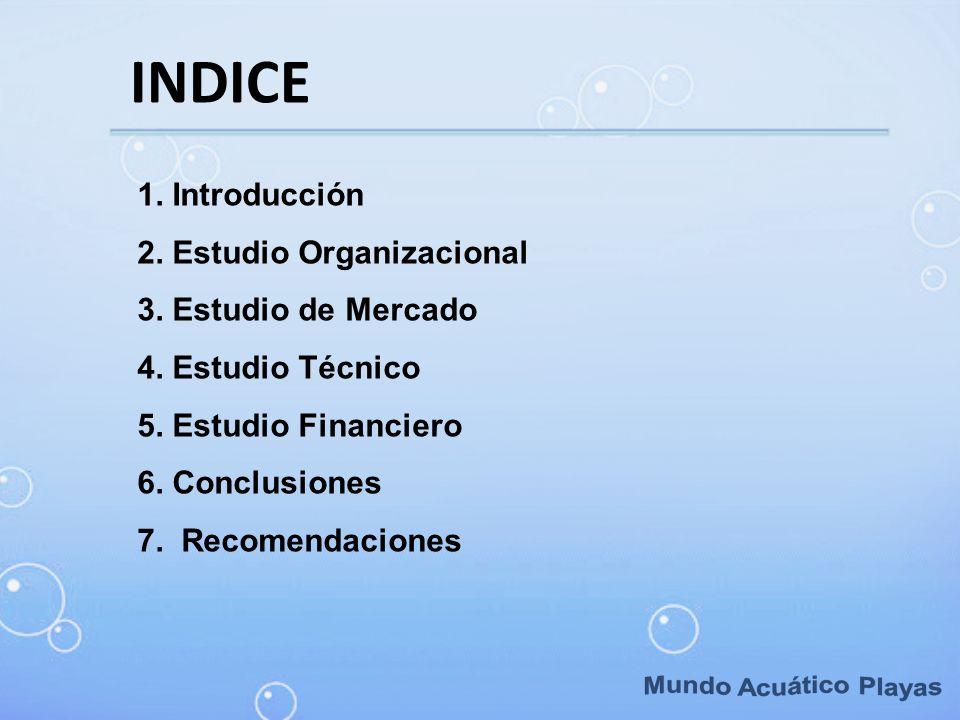 Mundo Acuático Playas INDICE 1. Introducción 2. Estudio Organizacional