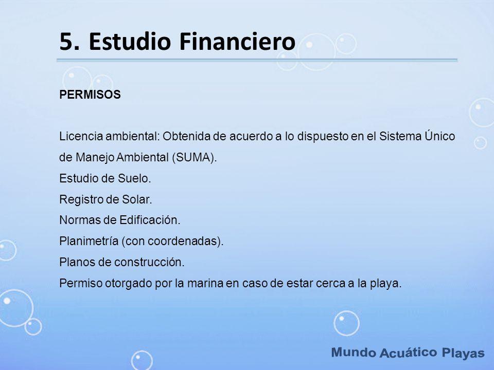 Mundo Acuático Playas 5. Estudio Financiero PERMISOS