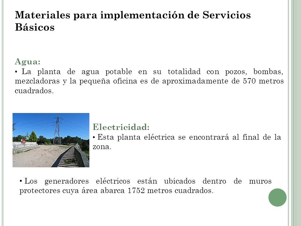 Materiales para implementación de Servicios Básicos