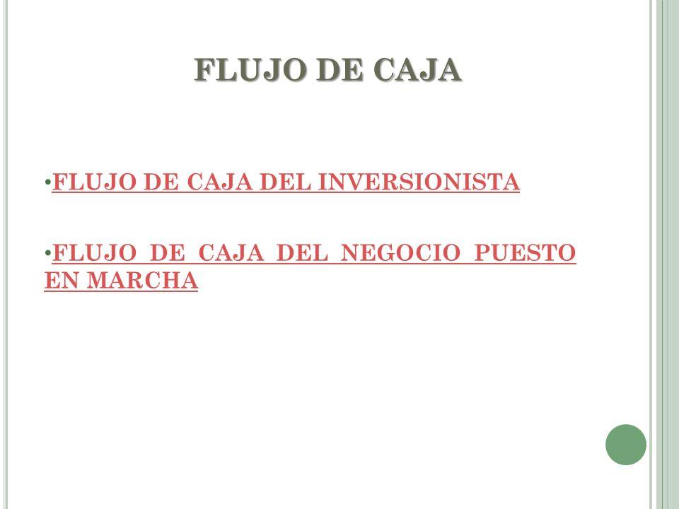 FLUJO DE CAJA FLUJO DE CAJA DEL INVERSIONISTA