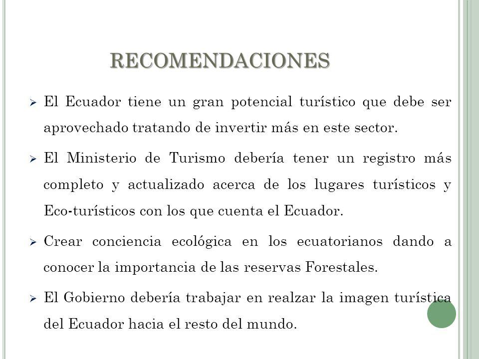 RECOMENDACIONES El Ecuador tiene un gran potencial turístico que debe ser aprovechado tratando de invertir más en este sector.
