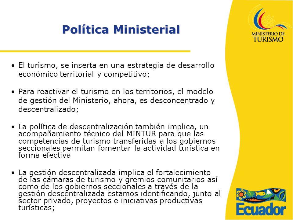 Política Ministerial El turismo, se inserta en una estrategia de desarrollo económico territorial y competitivo;
