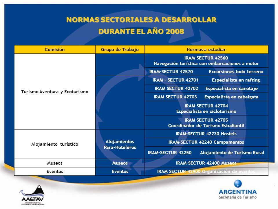 NORMAS SECTORIALES A DESARROLLAR DURANTE EL AÑO 2008