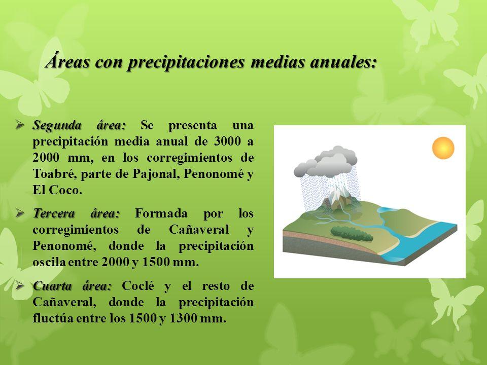 Áreas con precipitaciones medias anuales: