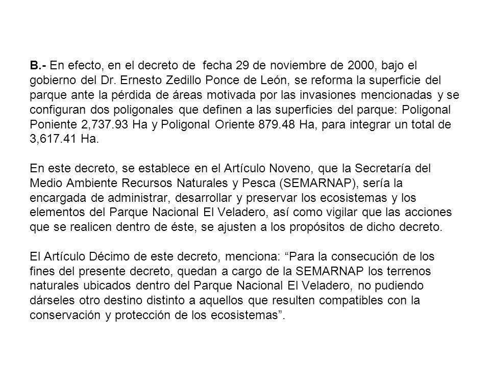 B.- En efecto, en el decreto de fecha 29 de noviembre de 2000, bajo el gobierno del Dr.