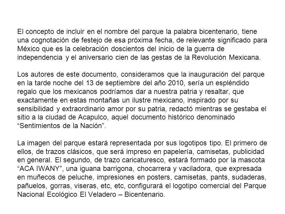 El concepto de incluir en el nombre del parque la palabra bicentenario, tiene una cognotación de festejo de esa próxima fecha, de relevante significado para México que es la celebración doscientos del inicio de la guerra de independencia y el aniversario cien de las gestas de la Revolución Mexicana.