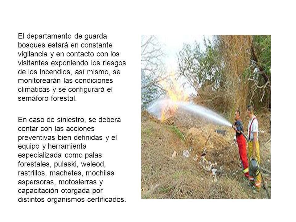 El departamento de guarda bosques estará en constante vigilancia y en contacto con los visitantes exponiendo los riesgos de los incendios, así mismo, se monitorearán las condiciones climáticas y se configurará el semáforo forestal.