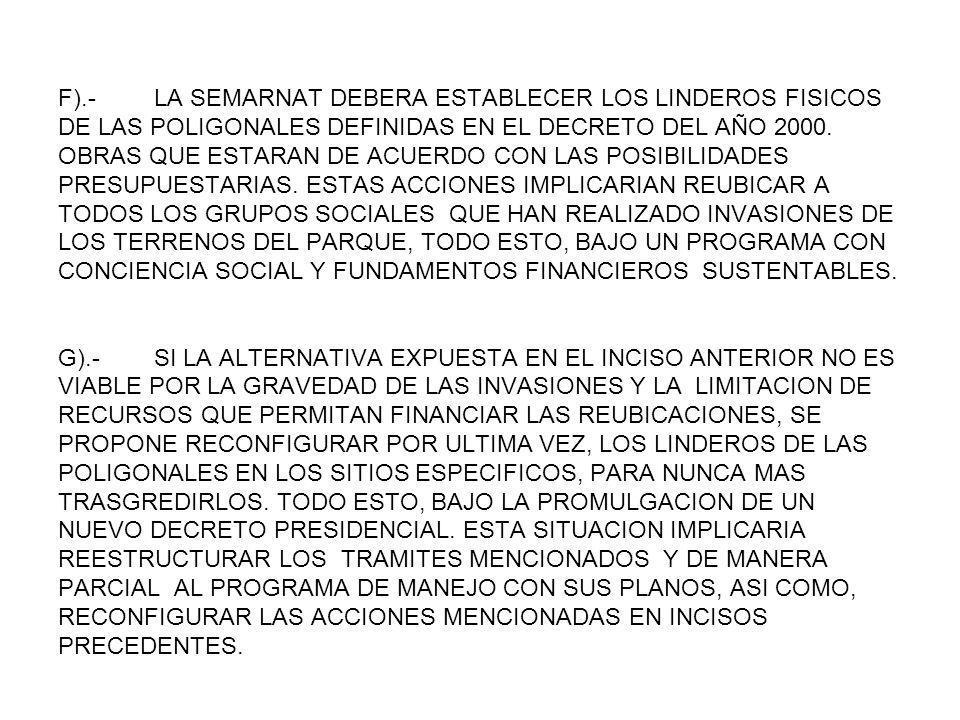 F).- LA SEMARNAT DEBERA ESTABLECER LOS LINDEROS FISICOS DE LAS POLIGONALES DEFINIDAS EN EL DECRETO DEL AÑO 2000.
