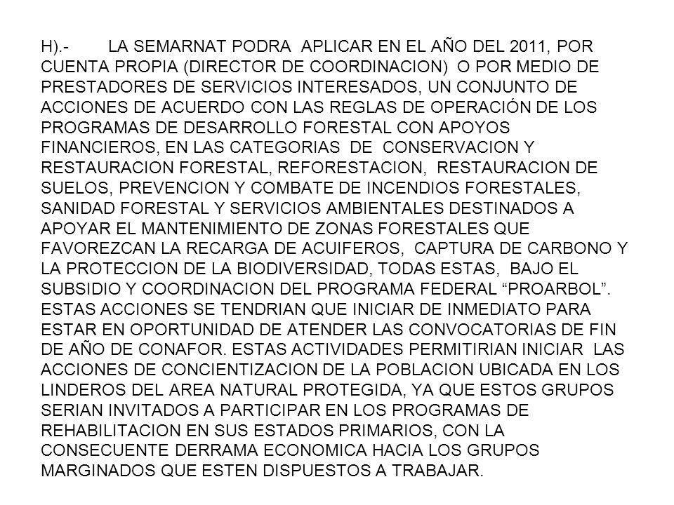 H).- LA SEMARNAT PODRA APLICAR EN EL AÑO DEL 2011, POR CUENTA PROPIA (DIRECTOR DE COORDINACION) O POR MEDIO DE PRESTADORES DE SERVICIOS INTERESADOS, UN CONJUNTO DE ACCIONES DE ACUERDO CON LAS REGLAS DE OPERACIÓN DE LOS PROGRAMAS DE DESARROLLO FORESTAL CON APOYOS FINANCIEROS, EN LAS CATEGORIAS DE CONSERVACION Y RESTAURACION FORESTAL, REFORESTACION, RESTAURACION DE SUELOS, PREVENCION Y COMBATE DE INCENDIOS FORESTALES, SANIDAD FORESTAL Y SERVICIOS AMBIENTALES DESTINADOS A APOYAR EL MANTENIMIENTO DE ZONAS FORESTALES QUE FAVOREZCAN LA RECARGA DE ACUIFEROS, CAPTURA DE CARBONO Y LA PROTECCION DE LA BIODIVERSIDAD, TODAS ESTAS, BAJO EL SUBSIDIO Y COORDINACION DEL PROGRAMA FEDERAL PROARBOL .