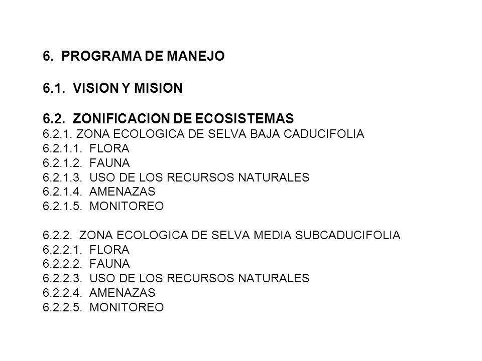 6. PROGRAMA DE MANEJO 6. 1. VISION Y MISION 6. 2