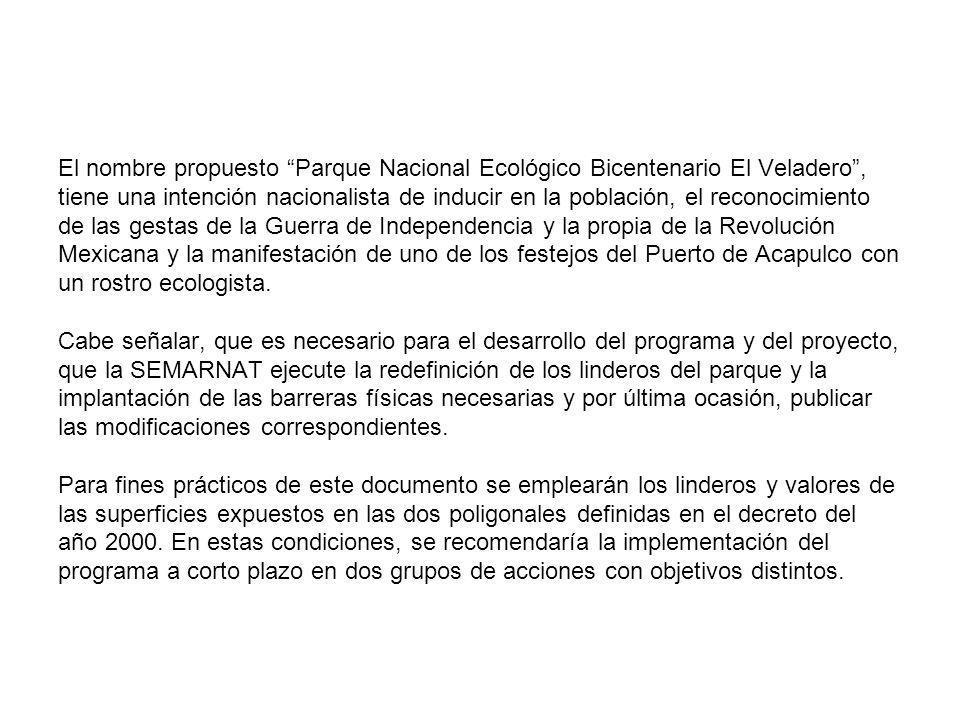 El nombre propuesto Parque Nacional Ecológico Bicentenario El Veladero , tiene una intención nacionalista de inducir en la población, el reconocimiento de las gestas de la Guerra de Independencia y la propia de la Revolución Mexicana y la manifestación de uno de los festejos del Puerto de Acapulco con un rostro ecologista.