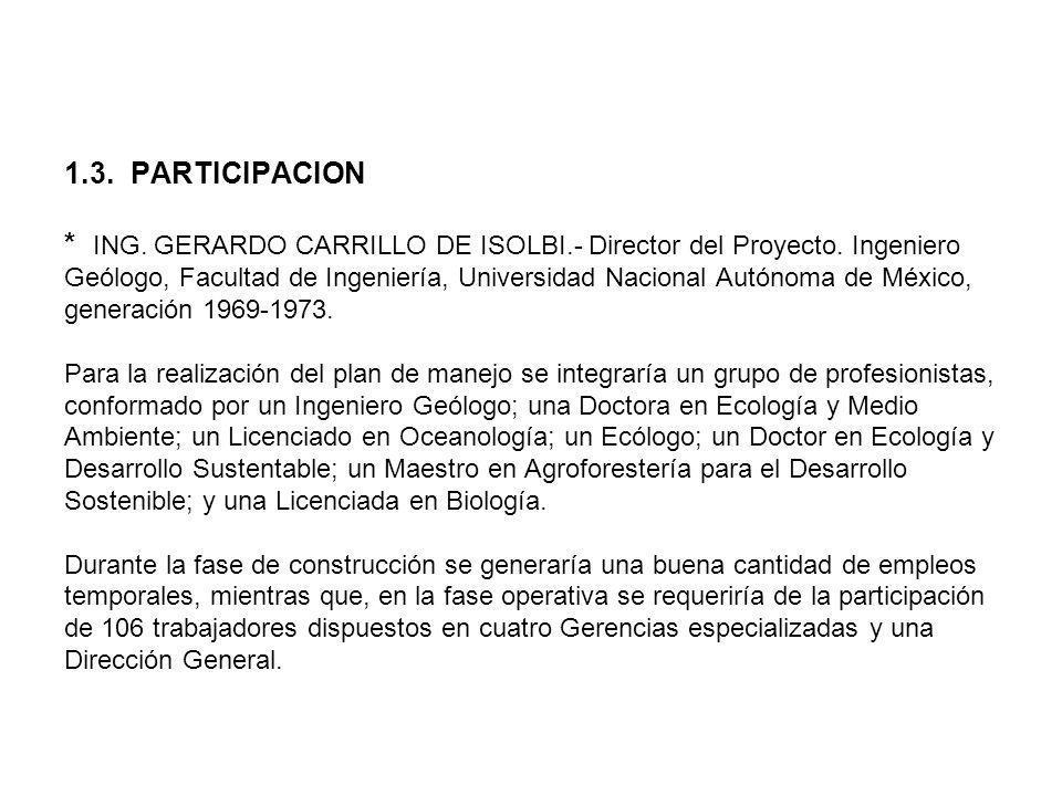 1. 3. PARTICIPACION. ING. GERARDO CARRILLO DE ISOLBI
