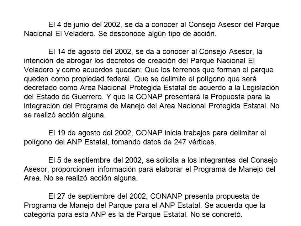 El 4 de junio del 2002, se da a conocer al Consejo Asesor del Parque Nacional El Veladero.