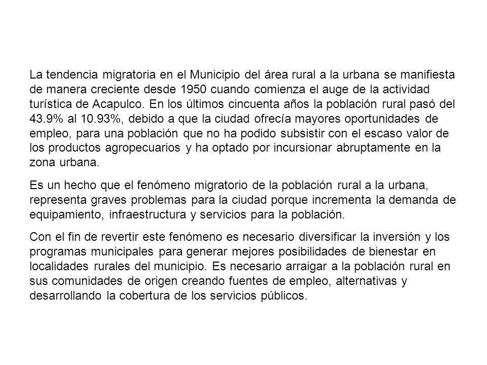 La tendencia migratoria en el Municipio del área rural a la urbana se manifiesta de manera creciente desde 1950 cuando comienza el auge de la actividad turística de Acapulco.