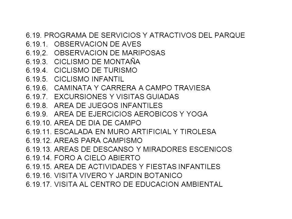6. 19. PROGRAMA DE SERVICIOS Y ATRACTIVOS DEL PARQUE 6. 19. 1