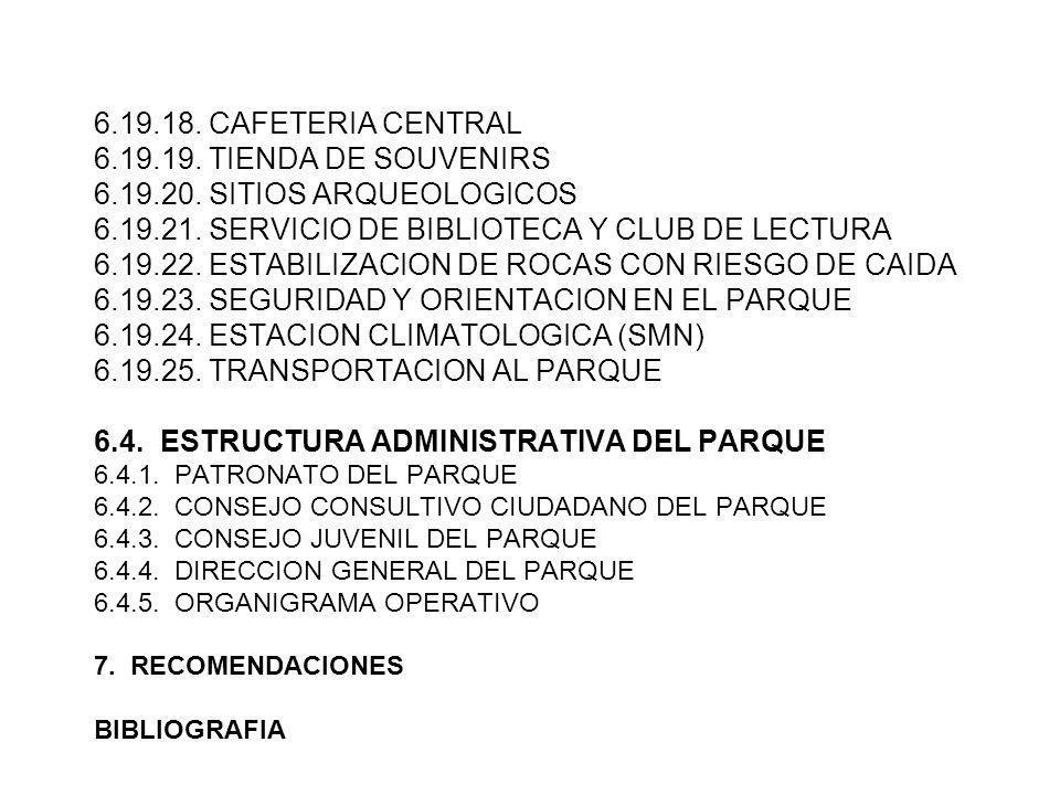 6. 19. 18. CAFETERIA CENTRAL 6. 19. 19. TIENDA DE SOUVENIRS 6. 19. 20