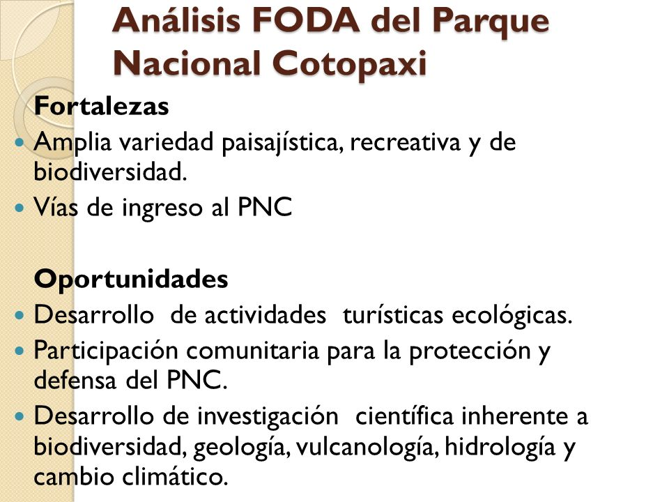 Análisis FODA del Parque Nacional Cotopaxi