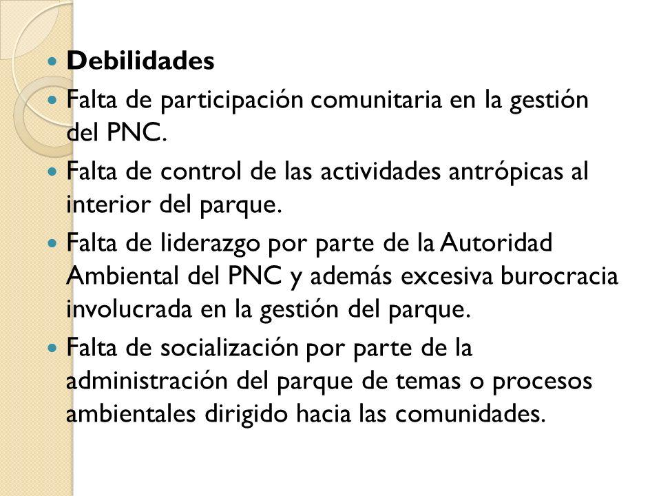 Debilidades Falta de participación comunitaria en la gestión del PNC. Falta de control de las actividades antrópicas al interior del parque.