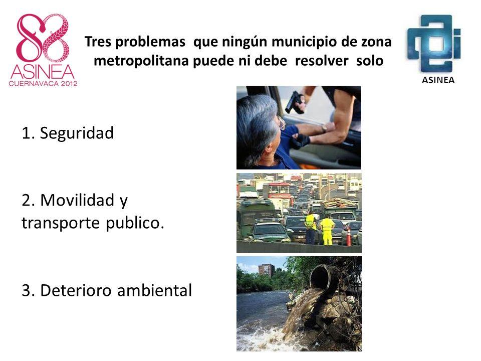 1. Seguridad 2. Movilidad y transporte publico. 3. Deterioro ambiental