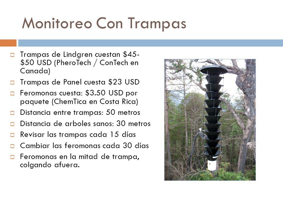 Monitoreo Con Trampas Trampas de Lindgren cuestan $45- $50 USD (PheroTech / ConTech en Canada) Trampas de Panel cuesta $23 USD.