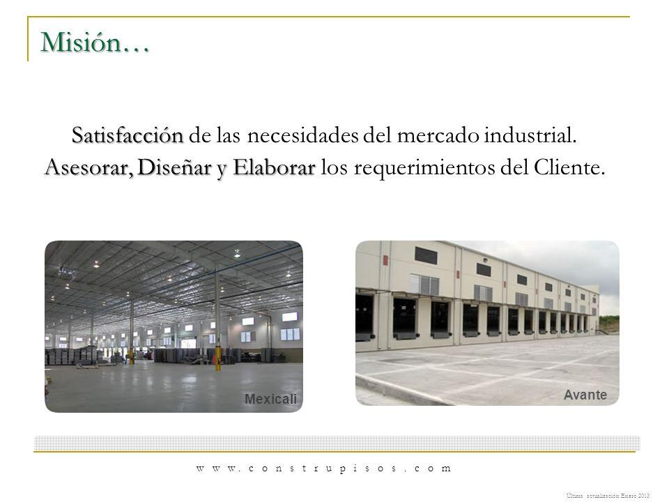 Misión… Satisfacción de las necesidades del mercado industrial.