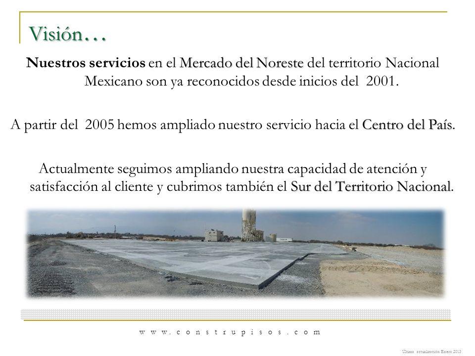 Visión… Nuestros servicios en el Mercado del Noreste del territorio Nacional Mexicano son ya reconocidos desde inicios del 2001.