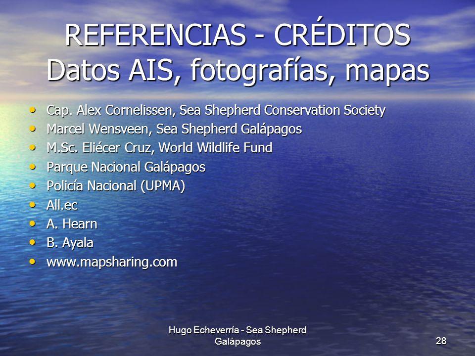 REFERENCIAS - CRÉDITOS Datos AIS, fotografías, mapas