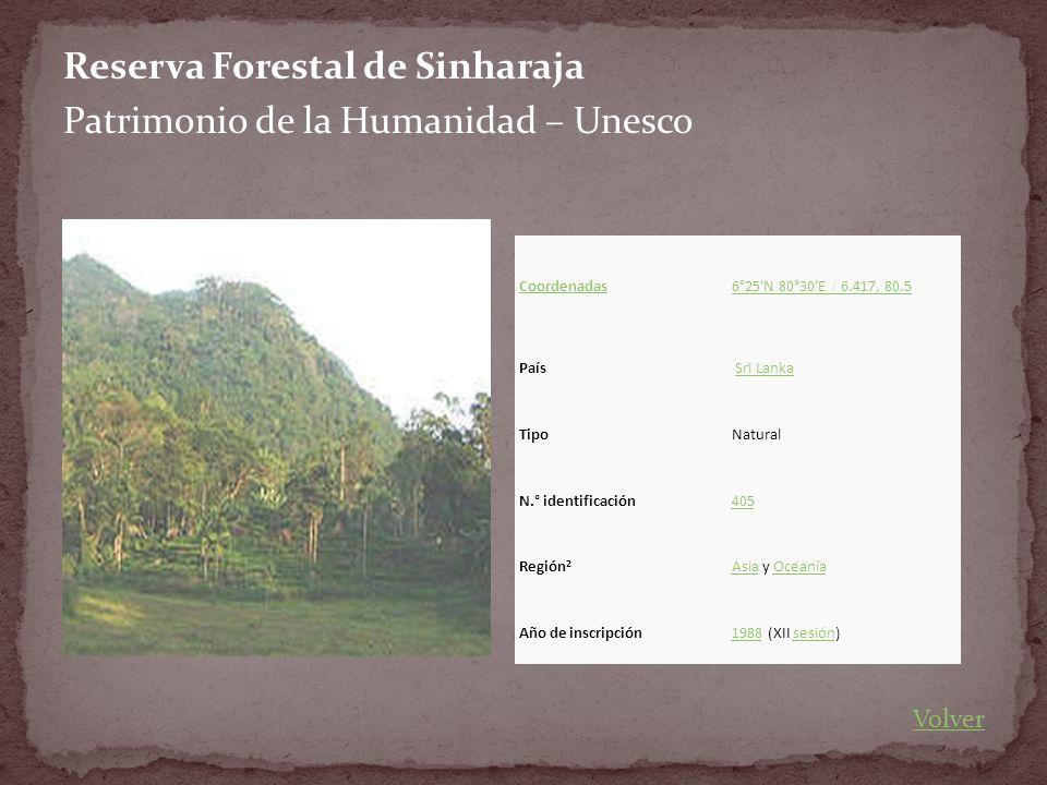 Reserva Forestal de Sinharaja Patrimonio de la Humanidad – Unesco