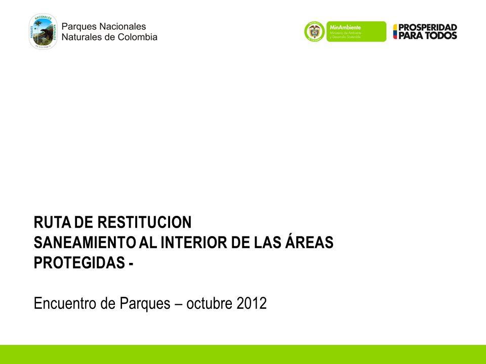 RUTA DE RESTITUCION SANEAMIENTO AL INTERIOR DE LAS ÁREAS PROTEGIDAS - Encuentro de Parques – octubre 2012.