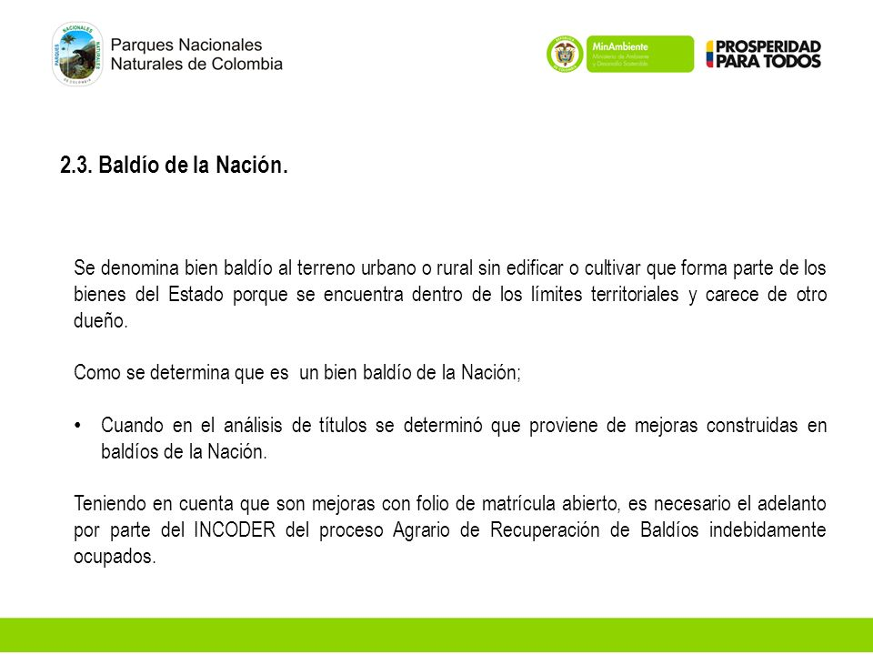 2.3. Baldío de la Nación.