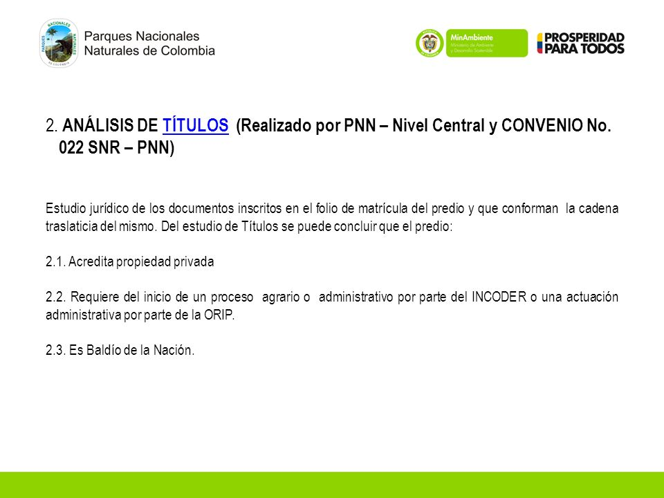 2. ANÁLISIS DE TÍTULOS (Realizado por PNN – Nivel Central y CONVENIO No. 022 SNR – PNN)