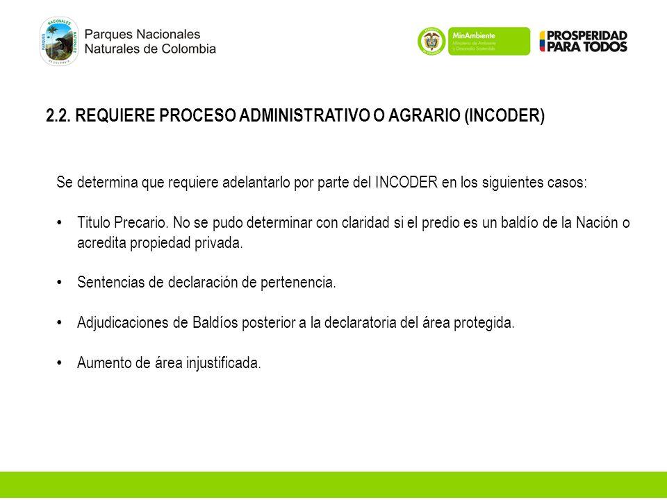 2.2. REQUIERE PROCESO ADMINISTRATIVO O AGRARIO (INCODER)