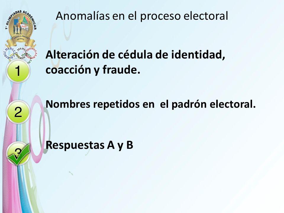 Anomalías en el proceso electoral