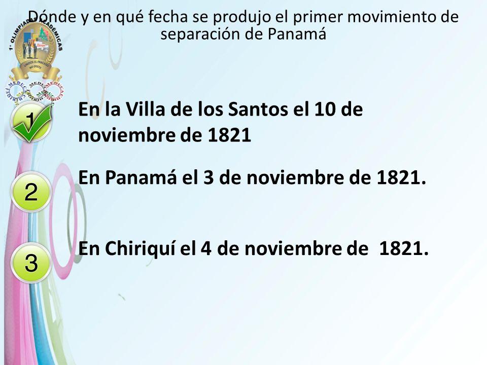En la Villa de los Santos el 10 de noviembre de 1821