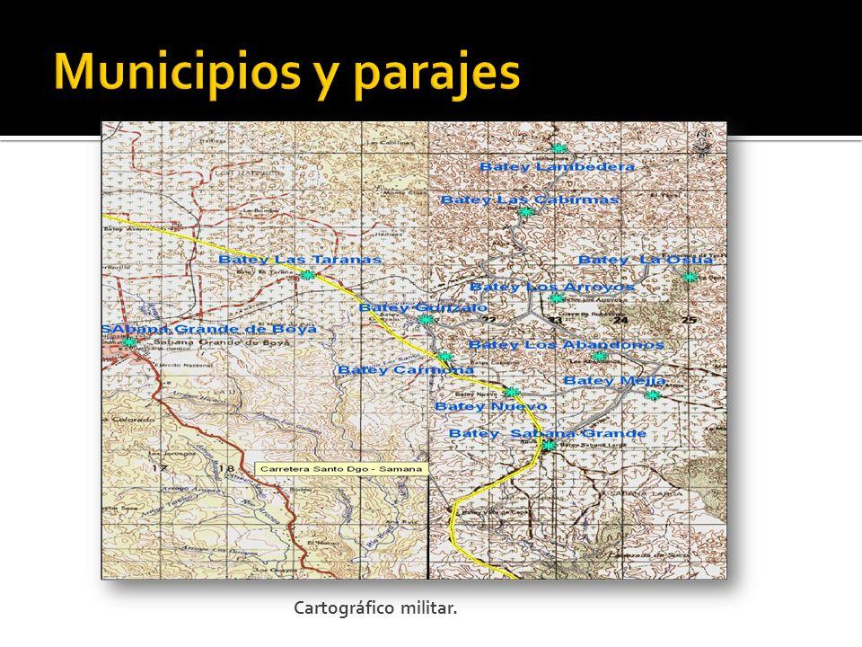 Municipios y parajes Cartográfico militar.