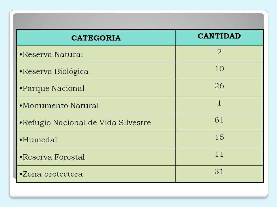 CATEGORIA CANTIDAD. Reserva Natural. 2. Reserva Biológica. 10. Parque Nacional. 26. Monumento Natural.