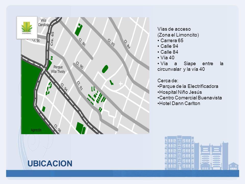 UBICACION Vías de acceso (Zona el Limoncito) Carrera 65 Calle 94