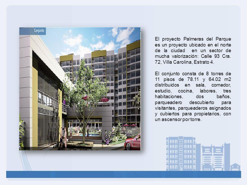 El proyecto Palmeras del Parque es un proyecto ubicado en el norte de la ciudad en un sector de mucha valorización: Calle 93 Cra. 72, Villa Carolina, Estrato 4.