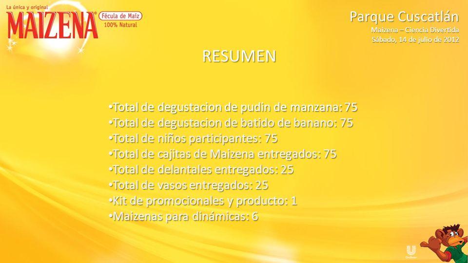 RESUMEN Total de degustacion de pudin de manzana: 75