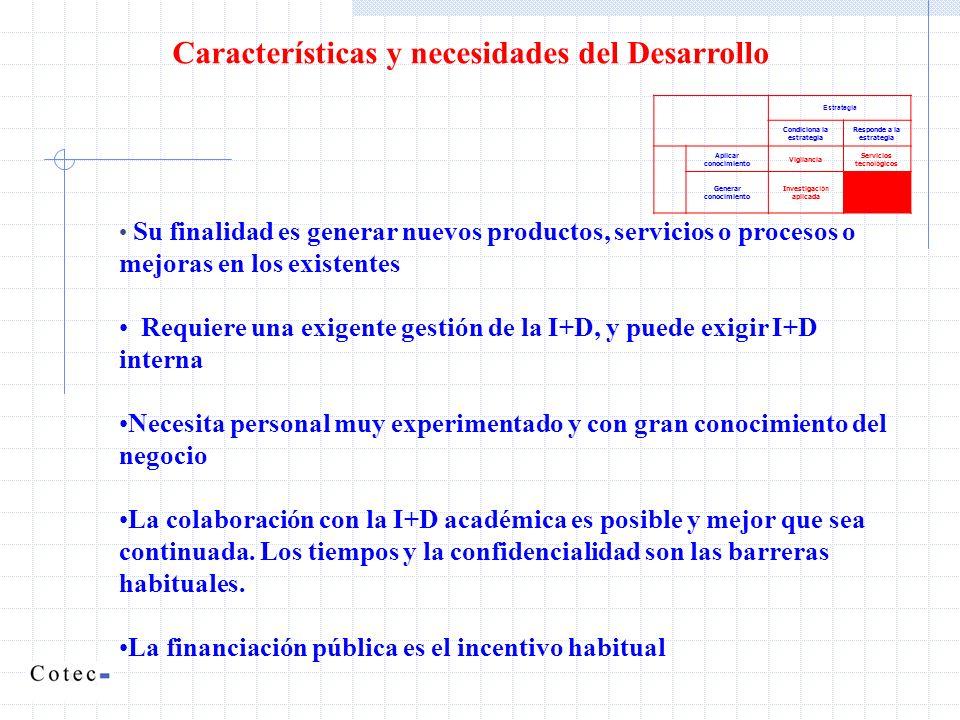 Características y necesidades del Desarrollo