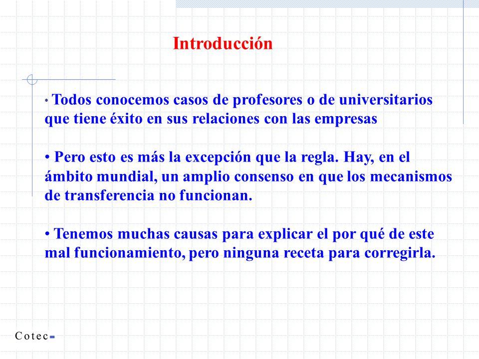 Introducción Todos conocemos casos de profesores o de universitarios que tiene éxito en sus relaciones con las empresas.