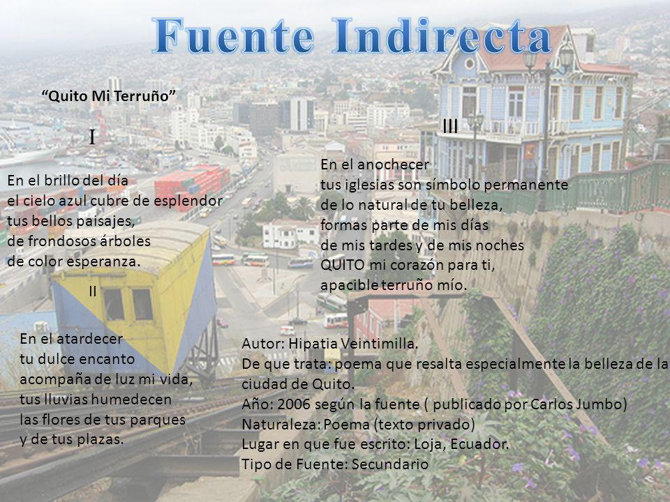 Fuente Indirecta III I Quito Mi Terruño
