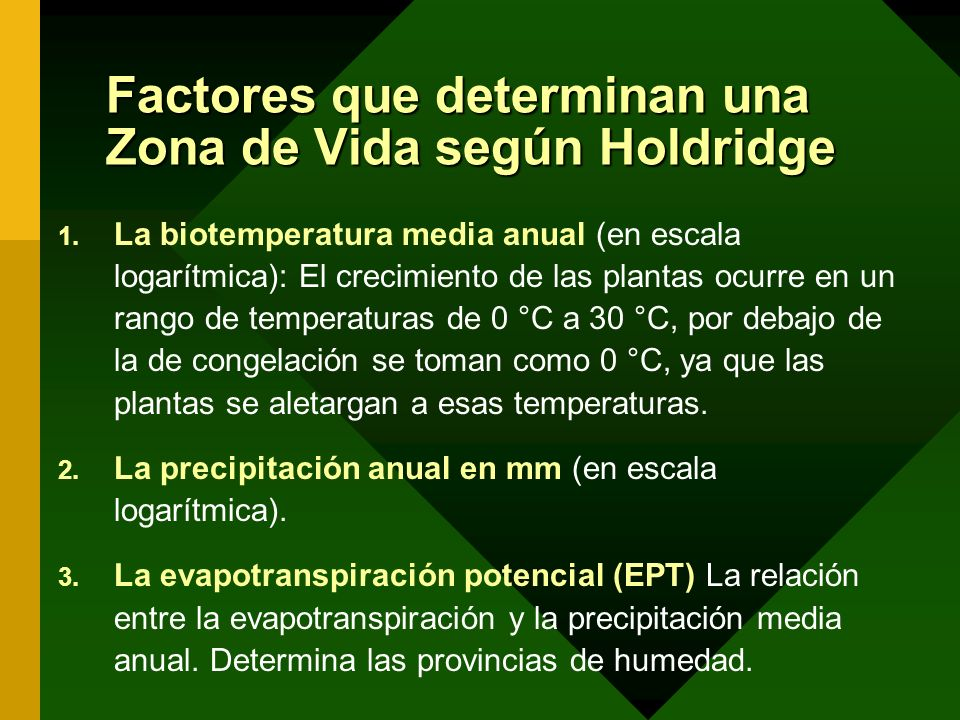 Factores que determinan una Zona de Vida según Holdridge